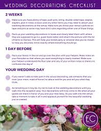 wedding decorations on a budget a free printable checklist for