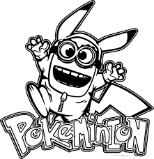 minion pikachu pokemon coloring page 02 coloring pinterest
