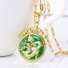 jade with gold necklace images Qoo10 chinese aaa tibet gold green jade dragon malay jade jpg