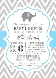 baby boy shower invites printable gray and blue chevron with elephant baby boy shower