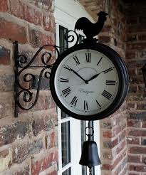 outdoor garden station wall clock double sided cockerel and bell
