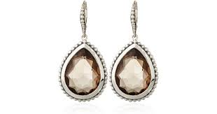 pear drop earrings lyst stephen dweck smoky quartz pear drop earrings in metallic