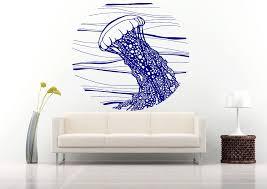 wall decals stickers home decor home furniture diy wall vinyl sticker decals mural room design art jellyfish waves ocean sea bo697