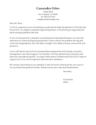 Samples Of Resume Letter by Best Legal Receptionist Cover Letter Examples Livecareer