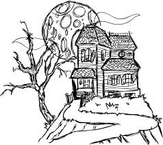 haunted house coloring pages coloring page