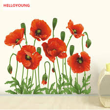 Online Get Cheap Poppy Decal Aliexpresscom Alibaba Group - Poppy wallpaper home interior
