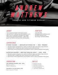 photo header fitness modern resume templates by canva