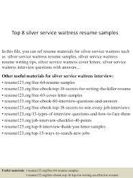 Waitress Resume Template Top 8 Silver Service Waitress Resume Sles 1 638 Jpg Cb 1433556106