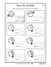 1st grade kindergarten math worksheets spot the doubles