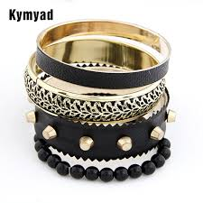 bangle bracelet sets images Kymyad fashion punk style jeruk black bracelets bangle sets for jpg