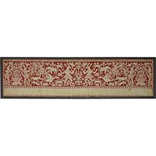 Linen Valance Italian Renaissance Embroidery Panel Valance Border Red Silk