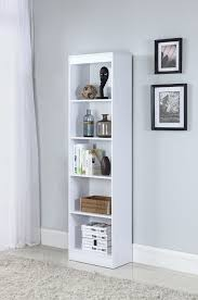 White Narrow Bookcase by 3ohu5y3 Jpg