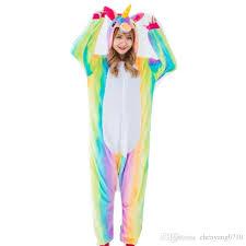 rainbow unicorn costume onesies pajamas kigurumi jumpsuit hoodies
