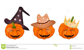 three happy jack o lantern pumpkins in halloween h stock image
