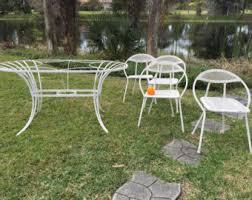 Steel Patio Furniture Sets by Vintage Metal Patio Furniture Etsy