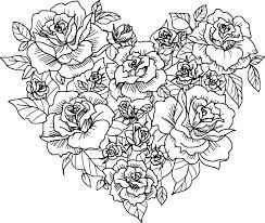 heart rose sketch coloring page wecoloringpage