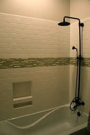 Bathtub Handheld Shower Subway Style Tiles With Mosaic Accent Rain Shower Head And