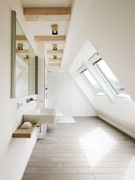 Different Lighting Fixtures by Attic Bathroom Designed With White Walls And Windows Also Modern