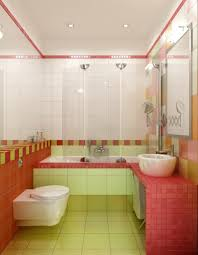 pink ceramic with white sink and modern mirror using strip led
