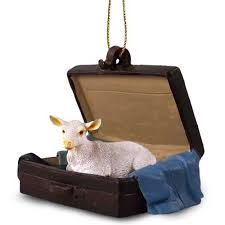 white goat suitcase animal ornament