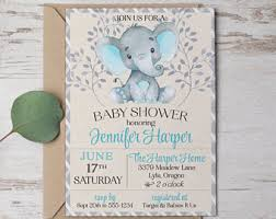 elephant baby shower invitations etsy