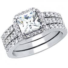 Sterling Silver Wedding Rings by 3 Pcs Women U0027s Aaa Cubic Zirconia Princess Cut Sterling Silver