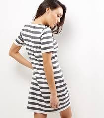 cheap black stripe lattice front t shirt dress for women dresses