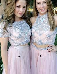 buy two piece bateau short sleeves floor length pink prom dress