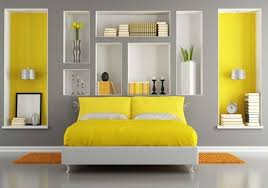 mix grey color with different colours to paint the bedroom and