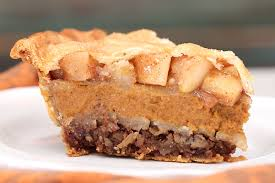 pumpkin pie pecan pie and apple pie in one get the recipe