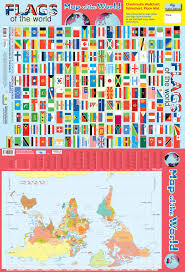 Map Of The World Poster by 2 In 1 Flags And Map Of The World Chart Media