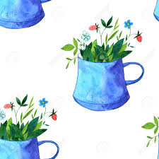 mint flowers seamless pattern with cups of tea with herbs mint flowers and