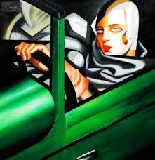 homage to t de lempicka tamara in the green bugatti 48x48