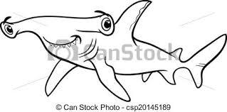 vector hammerhead shark coloring book black white cartoon