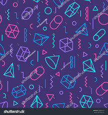 different color purples geometric seamless pattern consisting shapes lines stock vector