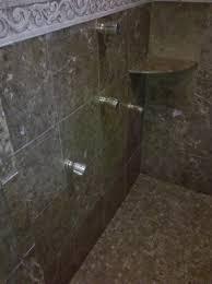 enchanting modern walk in shower designs with dark grey accent