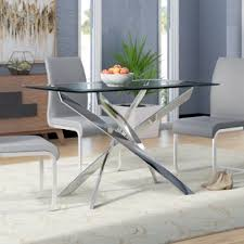 dining room glass table glass kitchen dining tables you ll love wayfair