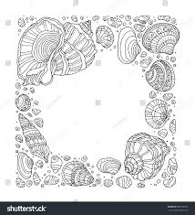 seashell border frame ocean pattern vector stock vector 390190525