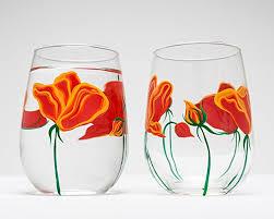 wine sler gift set california poppies stemless wine glasses set of 2