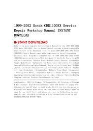 1999 2002 honda cbr1100 xx service repair workshop manual instant dow u2026