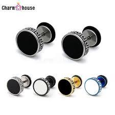 ear studs for men stainless steel stud earrings for men vintage letter earring