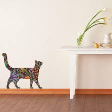 stretching cat wall sticker repositionable floral cat wall decal