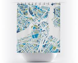 Boston Usa Map by Boston Map Shower Curtain Usa Shower Curtain Chroma Series