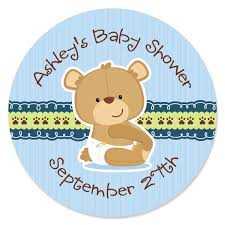 teddy baby shower 24 boy teddy circle stickers personalized baby shower