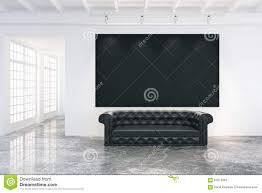 Rooms With Black Leather Sofa Blank Poster On The Wall In Loft Room With Black Leather Sofa An