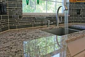 White Glass Tile Backsplash Kitchen Granite Countertop And Deep Undermount Kitchen Sink Also Black