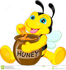 funny bee cartoon with honey stock vector image 49394054