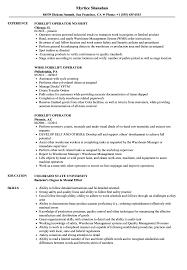 exle of a well written resume forklift operator resume sles velvet