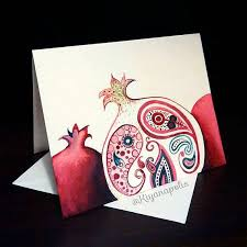 norooz greeting cards painted pomegranate card pomegranate greeting