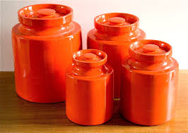 28 ceramic kitchen canister set ceramic kitchen storage ceramic kitchen canister set vintage mod orange ceramic canister set by interiorcomponents